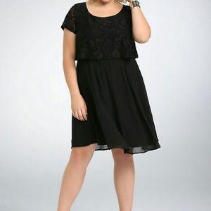 Torrid Twofer Black Lace Dress